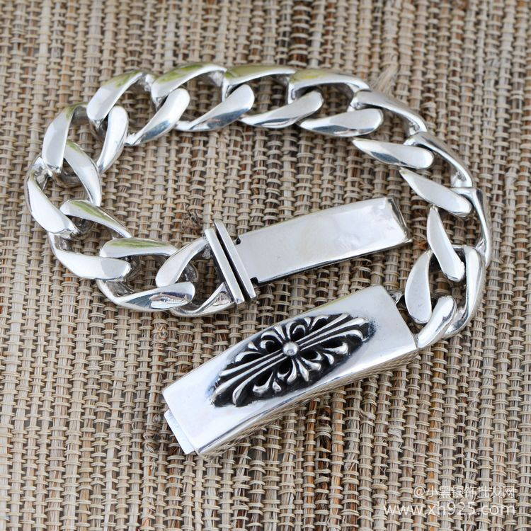 jewelry wholesale 925 sterling silver jewelry chain Thailand imported flat Crusader Bracelet 046949w male flowers<br><br>Aliexpress