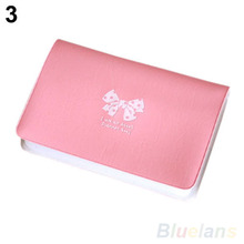 Women s Bowknot Business ID Credit Cute Card Pocket Bag Wallet Holder Case 02QJ 49YL