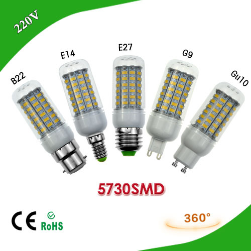 1Pcs 25W E27 E14 G9 GU10 B22 AC220V LED Corn Bulb 69LEDs Ultra Bright Samsung 5730 SMD LED lamp Chandeliers for light & lighting(China (Mainland))