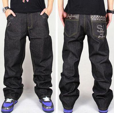 Fashion mens jeans baggy style black color hip hop loose jeans hip-hop pants for boy waist size 30-42Одежда и ак�е��уары<br><br><br>Aliexpress