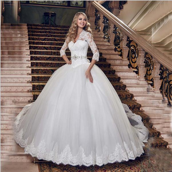 2015 sexy deep v neck three quarter sleeve ball gown for Lace three quarter sleeve wedding dress