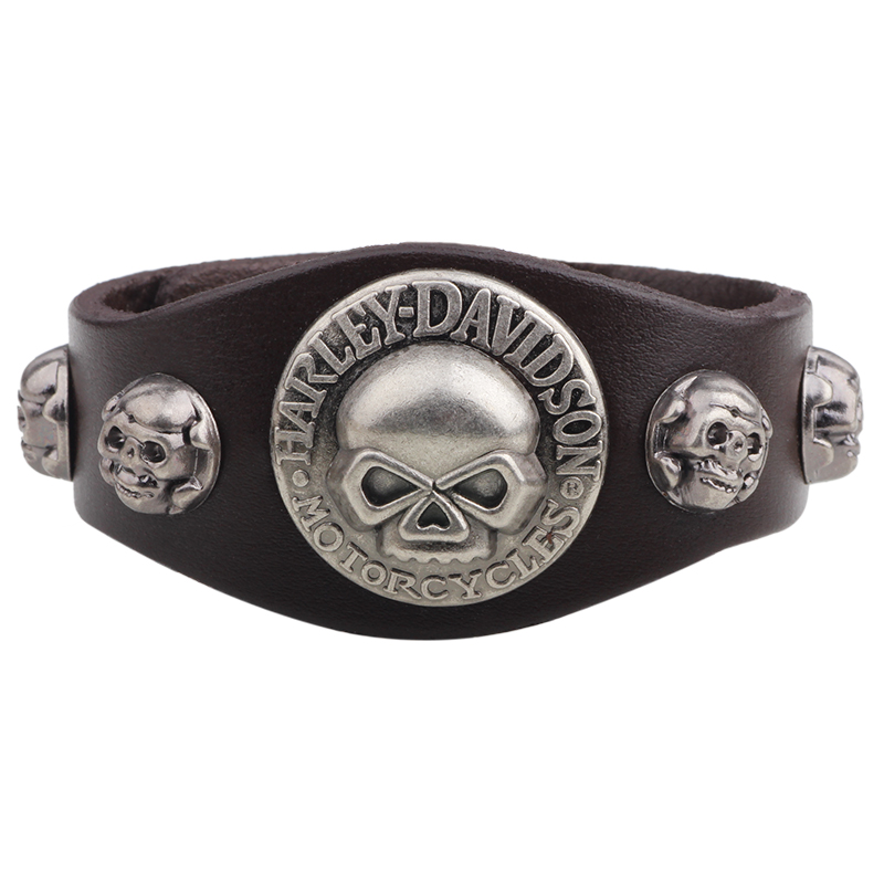 Leather Bracelet Homme Punk Stud Bracelet Men Pulseira de couro Armbanden Indian Native American Jewelry Skull Charm Bracelet(China (Mainland))