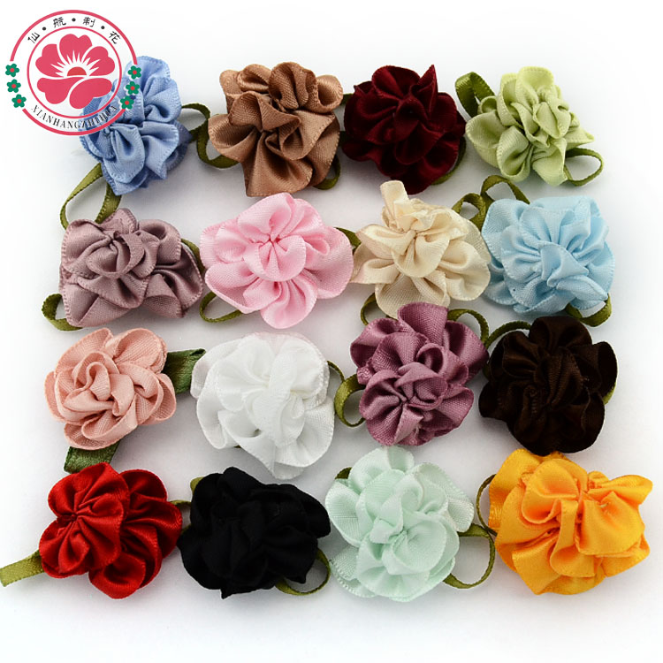 1-248 ( 100 pcs/lot) DIY Double Color Satin Ribbon Flowers With Leaves For Kids Girls Dress Shoes Craft Hair Accessories(China (Mainland))