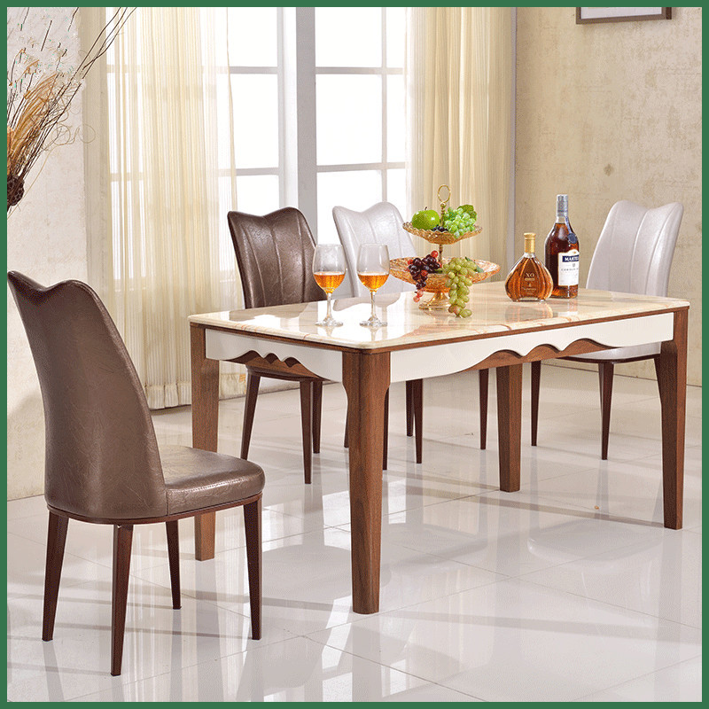 Wooden Material and Dining Table Specific Use wooden dining table with marble top(China (Mainland))
