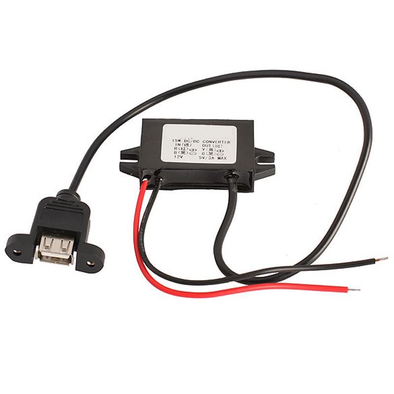 D1U# Car Charger DC Converter Module 12V To 5V 3A 15W with USB Mounting Hole Free Shipping(China (Mainland))