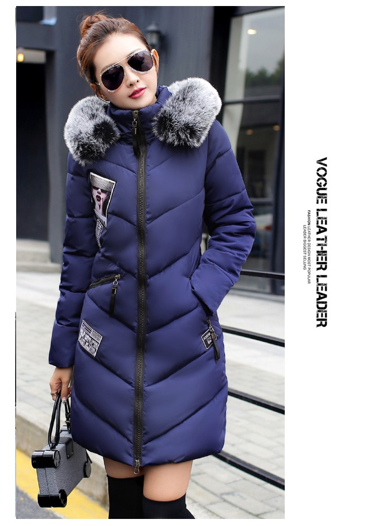 Winter large size down jacket women long paragraph Slim thick hooded jackets Coat