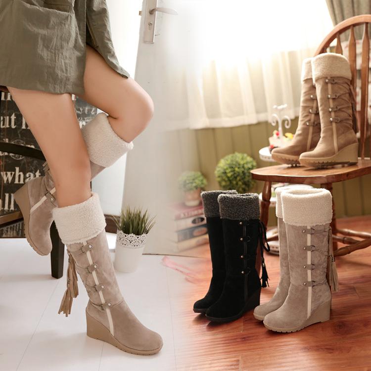 Shoes Women Wedges High-leg Plus Velvet Boots Round Toe Boots Hhigh-heeled Tassel Sleeve Boots Beige Brown Autumn Winter Shoes<br><br>Aliexpress