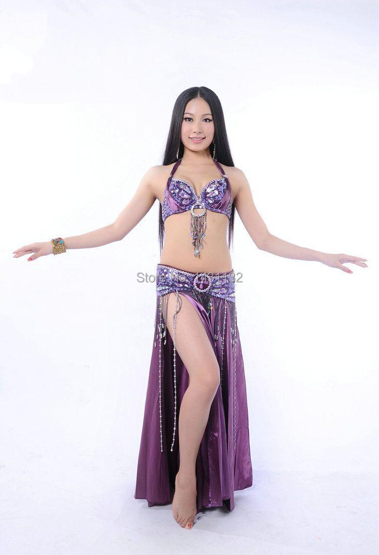 высокое качество ручной работы из бисера Вышивка женщин танец живота костюмы бюстгальтер и пояс на