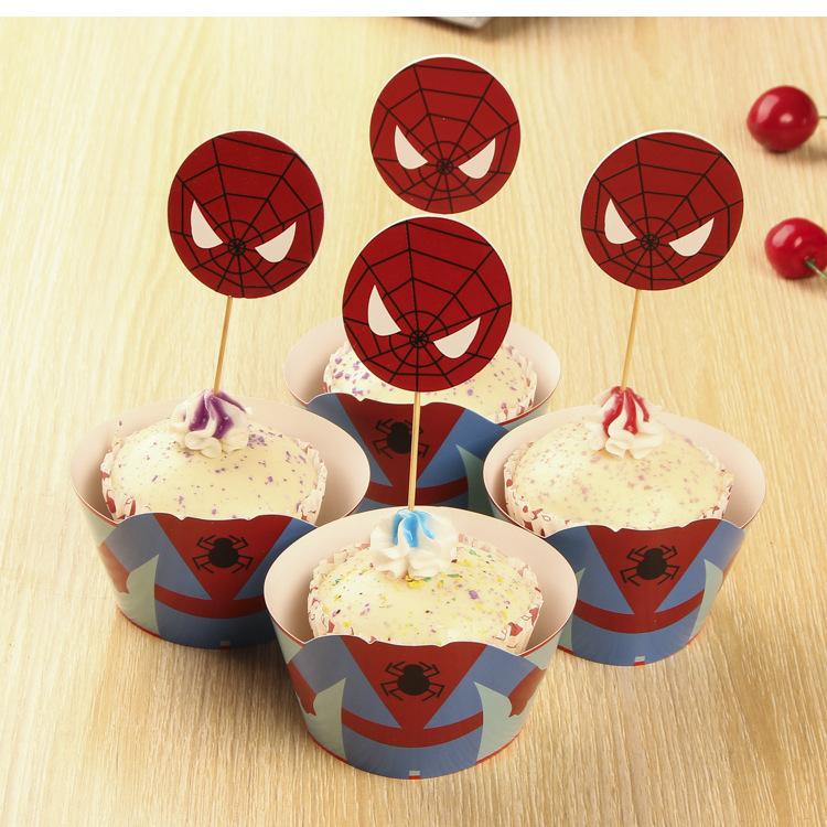 Aliexpress com  Koop 24 stuks spin man cupcake wrappers + cake toppers pakt set voor bruiloft