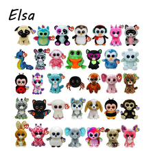 Original Ty Beanie Boos Big Eyes Plush Toy Doll Husky Cat Owl Unicorn TY Baby Kids Gift 10-15 cm WJ159
