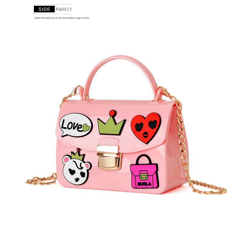 High quality jelly cartoon badge pink women/girl mini handbag crossbody chains fashion femme candy color pillow shoulder bag(China (Mainland))