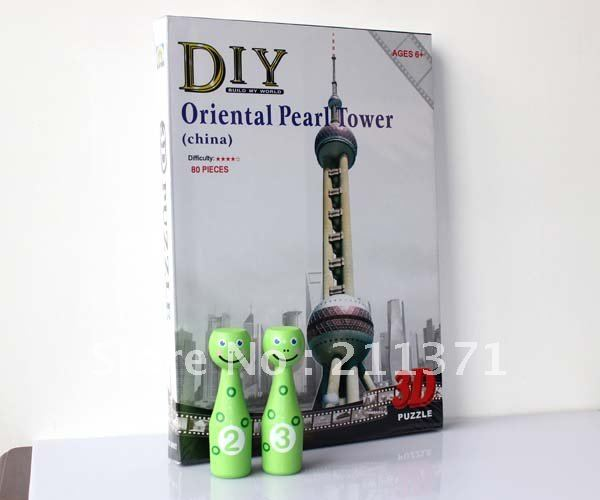 Puzz 3D DIMENSIONAL Puzzle WREBBIT Oriental Pearl Tower Shanghai China symbol building nice DIY TOY 80 pcs(China (Mainland))