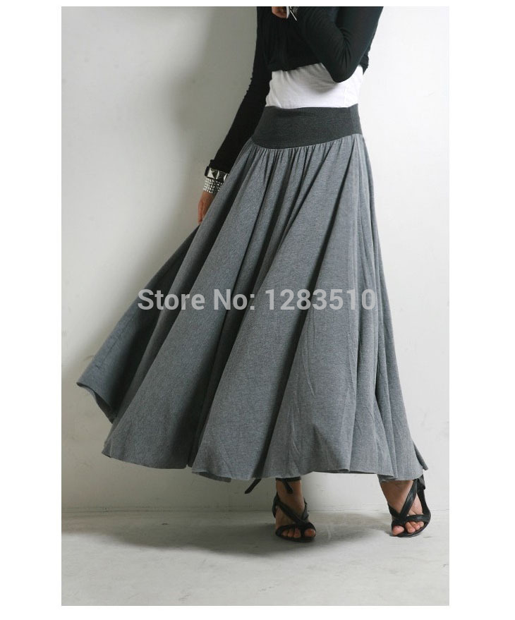Wholesale New Arrival Autumn Spring Original Design Long Skirts Elastic Waist Grey Solid Color Long Skirt Free Shipping(China (Mainland))