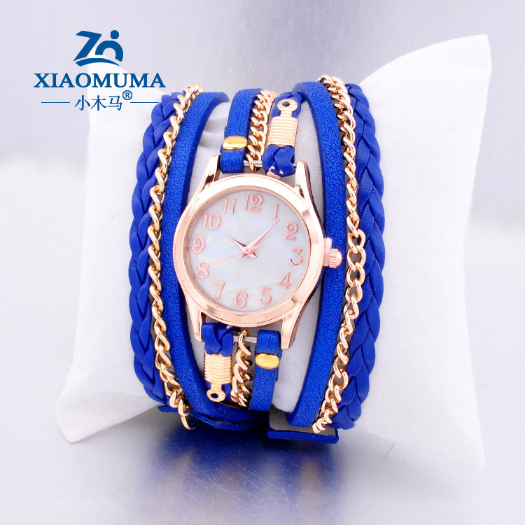 2015 AliExpress selling hand-woven bracelet watch strap wrapped high leather ladies watches Retro watches(China (Mainland))