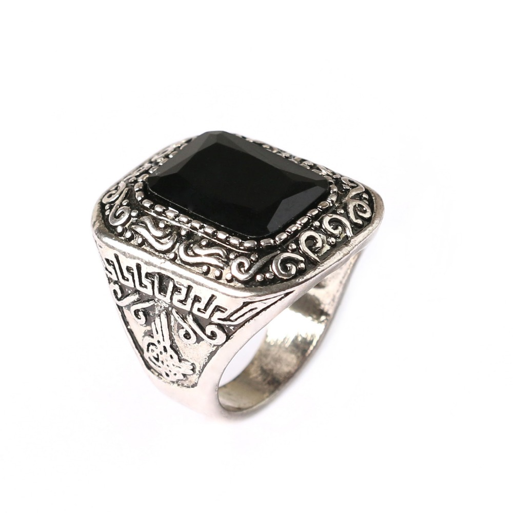 Custom Men Rings Fashion Hot Sale New Arrival Vintage Square Gem Rings for wo