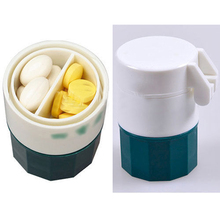 Fashion Effective Pill Crusher Grinder Splitter Storage Pill Box Tablet Divider Color Green HB-0136(China (Mainland))