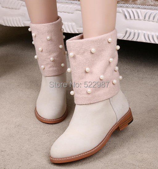 2014 Winter Hot Selling Beading Women Knee Boots Fur inside Brand Flat Booty Brown/Beige Ankle boots sale - Rose's Boutique store