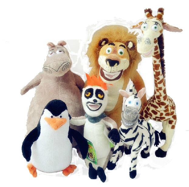 Wholesale Madagascar plush toys lion zebra giraffe monkey Penguin hippo 6pcs/set children gifts free shipping(China (Mainland))