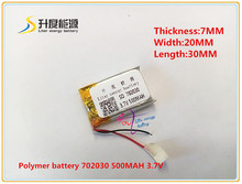 3.7V 500mAh 702030 Lithium Polymer Li-Po Rechargeable Battery For DIY Mp3 MP4 MP5 GPS PSP bluetooth electronic part Video games(China (Mainland))