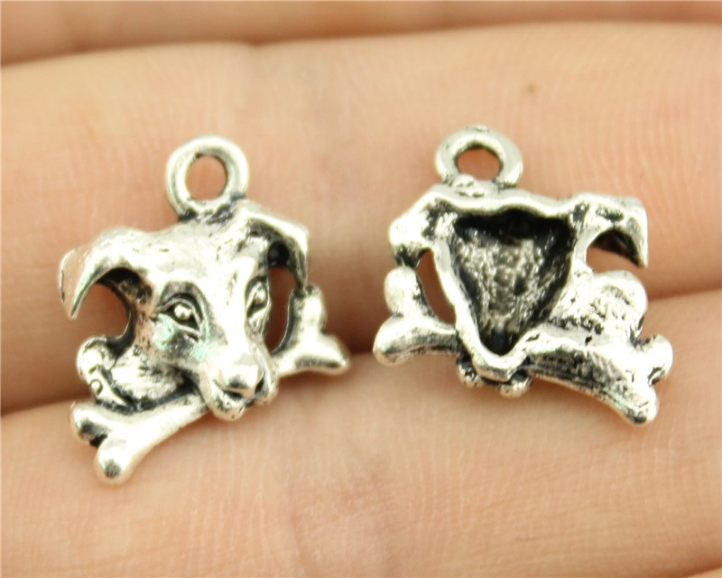 WYSIWYG 6pcs 15*15mm antique silver tone dog with bone charms(China (Mainland))