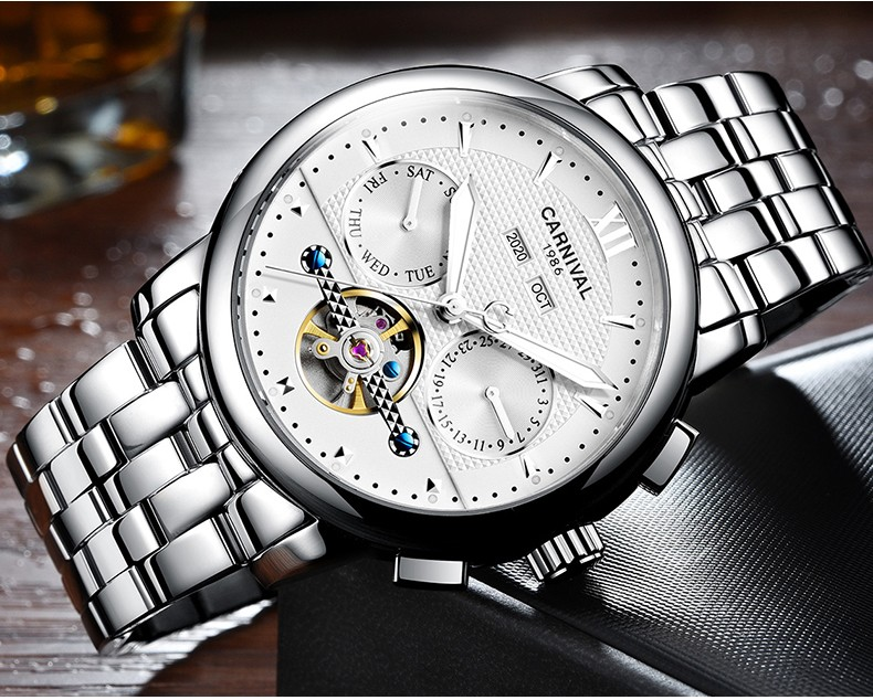 Fashion tourbillon watch men gold Stainless steel Automatic mechanical Sapphire waterproof white watch relogio masculino