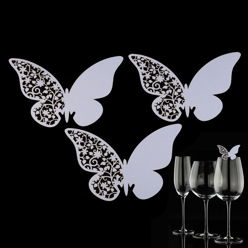 Гаджет  Hot Lot of 50 Pcs Butterfly Place Escort Wedding Party Wine Glass Paper Cards White New Arrival Free Shipping None Дом и Сад