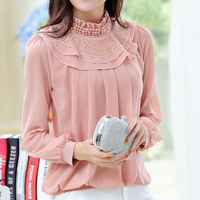 2016 Autumn New Vintage Elegant Chiffon Ruffles Beaded Women Blouse Shirt Tops Blusas OL Officewear Workwear Plus Size
