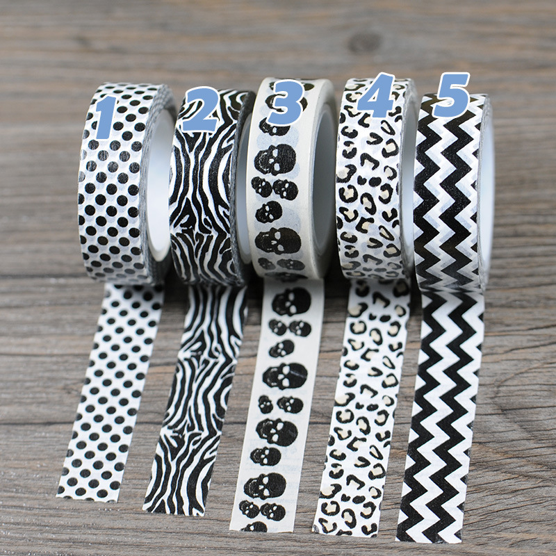 New 1x Black White Colored Chevron Polka Dots Patterned Japanese Washi Paper Decorative Masking Adhesive Tape 10M Stickers <br><br>Aliexpress