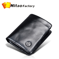 2015 Top Oil Wax Cow Leather Men Business Wallet For Man multi-function leather billfold in coin pocket purse Bag free shipping