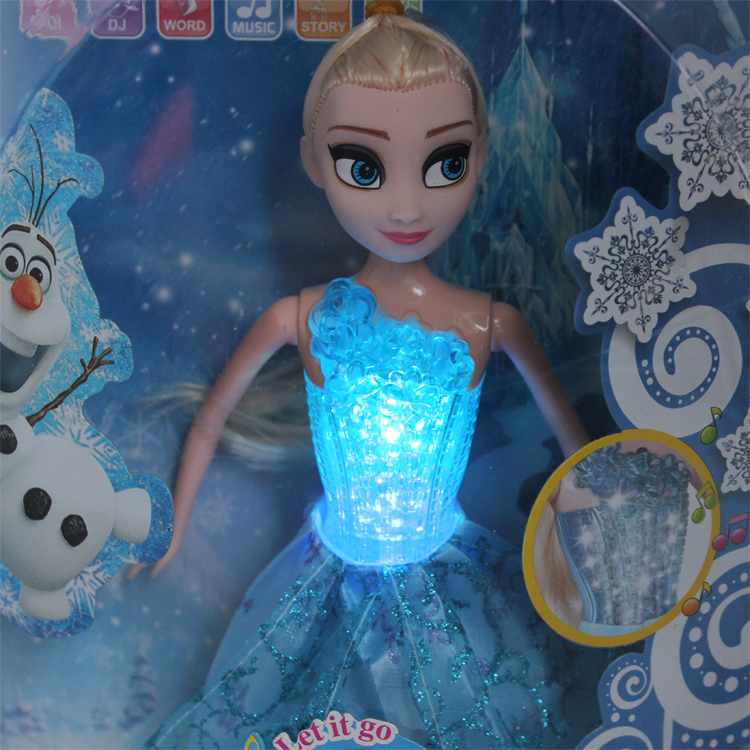 New Arrival Music Toy Elsa Doll Let it go With Glow Kids Girl Education Learning Toy Machine(China (Mainland))