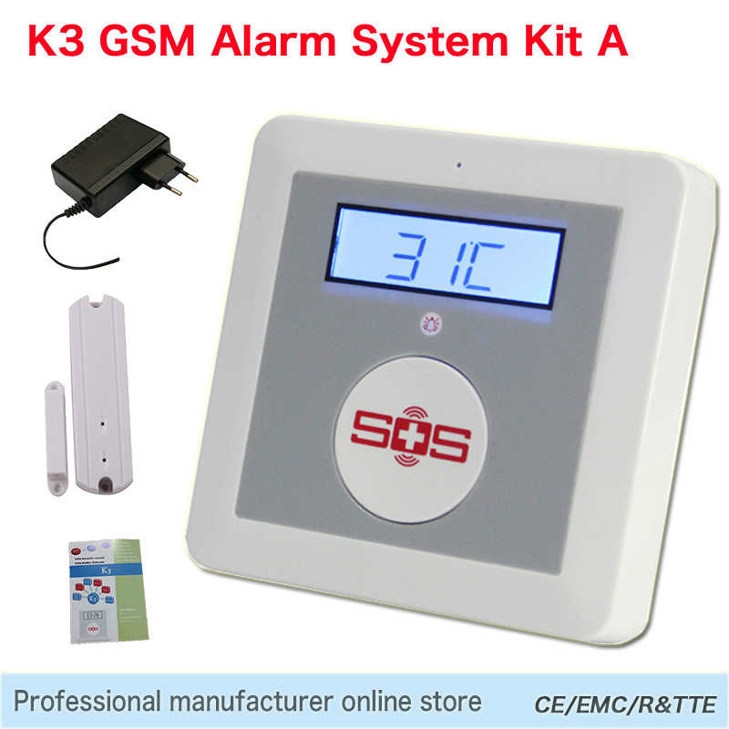 GSM Alarm System Home Security Alarm Kit DIY House Alarm Fire Intrusion Safety SOS Alarm K3 Package A with a EM-100C Door Sensor(China (Mainland))