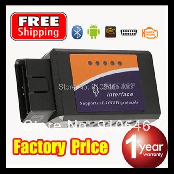 ELM327 Bluetooth OBDII V1.5 CAN-BUS Diagnostic Scanner obd 2 Elm 327 Bluetooth Car Scan Tool Free Shipping 5pcs/lot(China (Mainland))