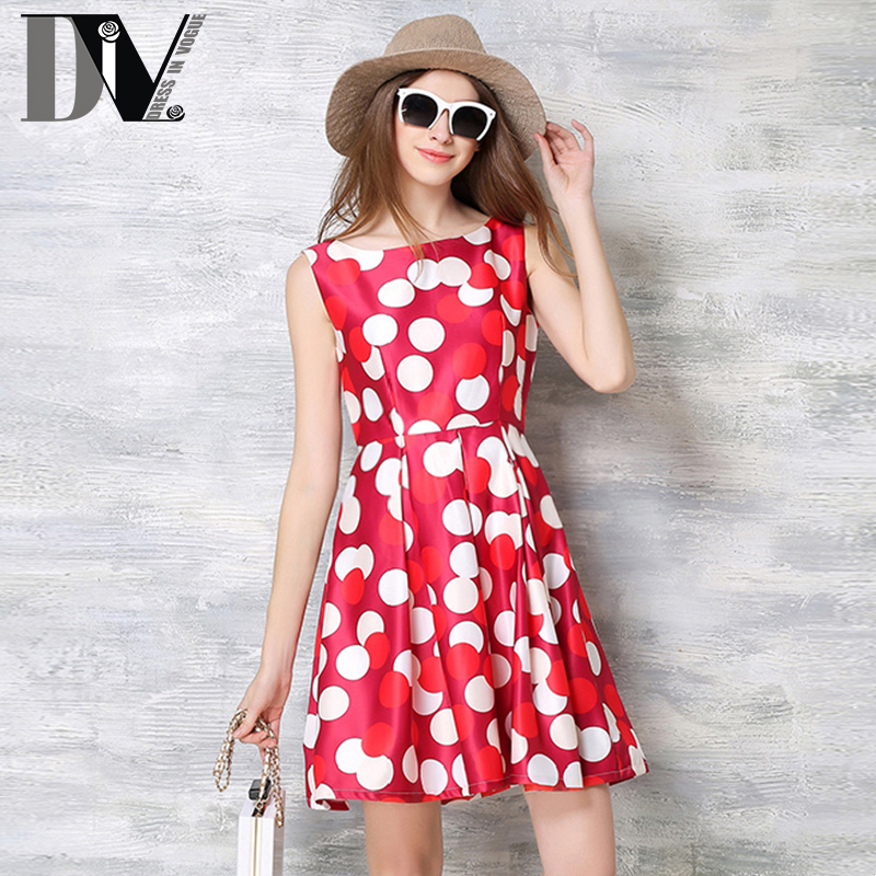 DIV Dot Print Sleeveless Casual Tutu Dresses Summer O-Neck Empire Mini Vestidos Women Broadcloth Slim Out Vest Dress Plus Size(China (Mainland))