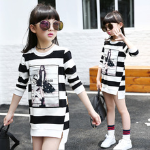 Girls clothing child basic shirt loose female big boy top 2016 o-neck stripe medium-long t-shirt