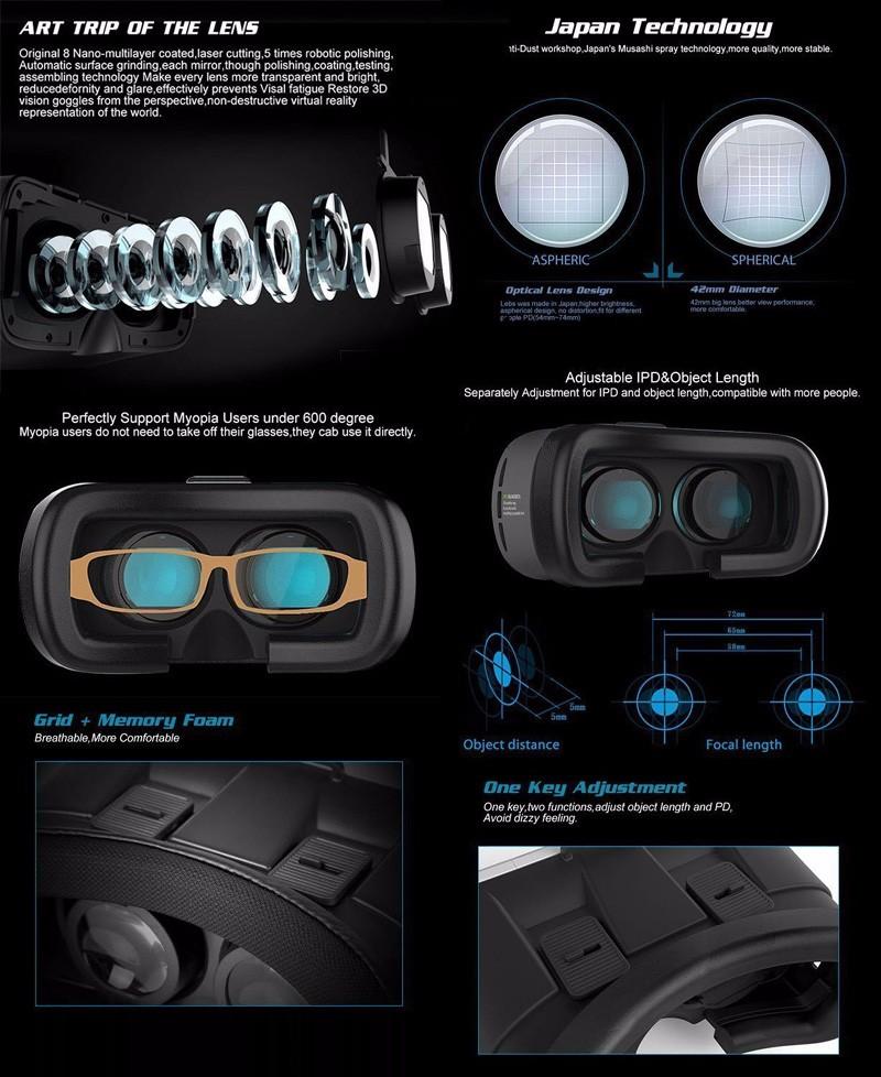 ถูก ราคาถูกVRกล่อง2.0 Version3 Dหัวหน้าเมาหมวกกันน็อคกระดาษแข็งVRเสมือนแว่นตา3Dวิดีโอสำหรับมาร์ทโฟน+บลูทูธควบคุม