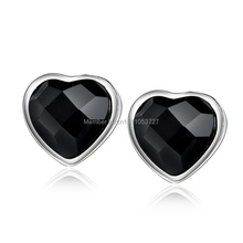 high quality 925 sterling silver metal black onyx heart stud earring(China (Mainland))