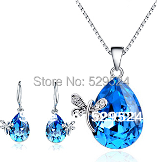 Blue Crystal Pendant Necklace african Jewelry set Sets Wedding Accessaries Drop Gift