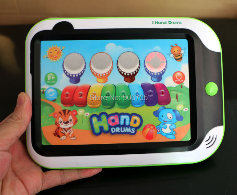 Cartoon hand drum touch screen musical educational toys learning machine,YPad baby game console for Kids with music and light(China (Mainland))