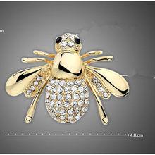 Europee E Americane Grande Cute Bee Spilla CZ Spilla Pin Collare Cardigan Vestito Femminile Gioielli Spille Per Bouquet Da Sposa(China)