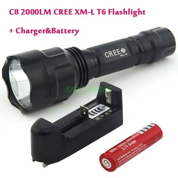 Classic Style C8 Cree XM-L T6 LED 2000LM 5-Mode Flashlight Torch light + 18650 Rechargeable battery + Charger Free Shipping