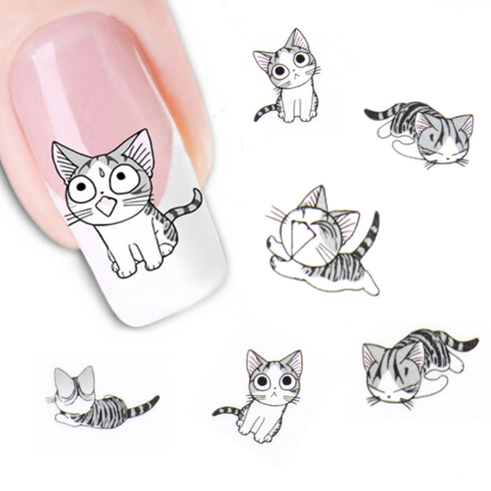 New Fashion Lovely Sweet Water Transfer 3D Grey Cute Cat Nail Art Sticker Full Wraps Manicure Decal DIY(China (Mainland))
