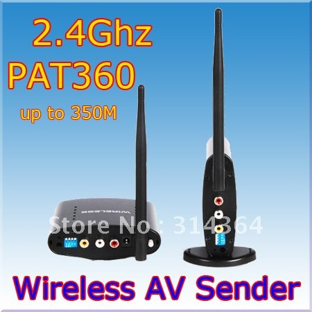 5pc/lot AV Sender Wireless Transmitter Receiver 350m,av sender and receiver,2.4ghz wireless av sender,Free Express Shipping(China (Mainland))