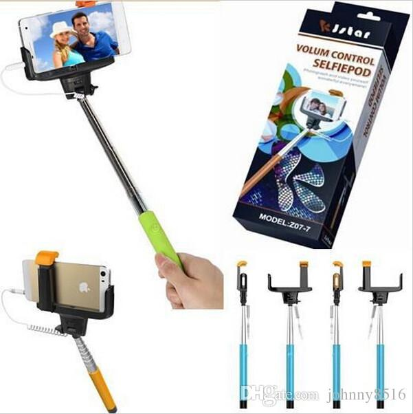 Z07-7 2 in 1 Wired Selfie Stick Monopod With 3.5mm Cable Built-in Shutter + Bigger Clip Holder For iPhone Android Smart Phone DH(China (Mainland))