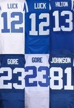 Mejores hombres de la calidad de 12 Andrew Luck 23 Frank barato 81 Andre Johnson cosido jersey de la elite Jersey(China (Mainland))