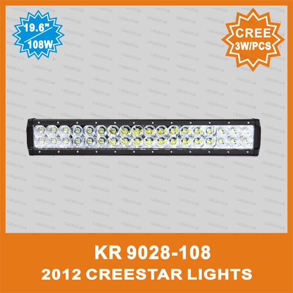 "12V 108W LED truck mounted fire engine work light 20"" cree led truck light bar KR9028-108 108W led offroad bar 20inch(China (Mainland))"