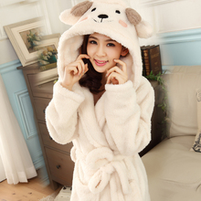 Japan And South Korea Beyond Of Cute Long Sleeve Plush Velvet Little Sheep Princess Robe and Night Gown Home wear Leisure Wear(China (Mainland))