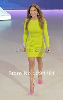 Best Quality on the market during 2013!  Ladies Lime Green Long Sleeve Bandage evening Party Dress