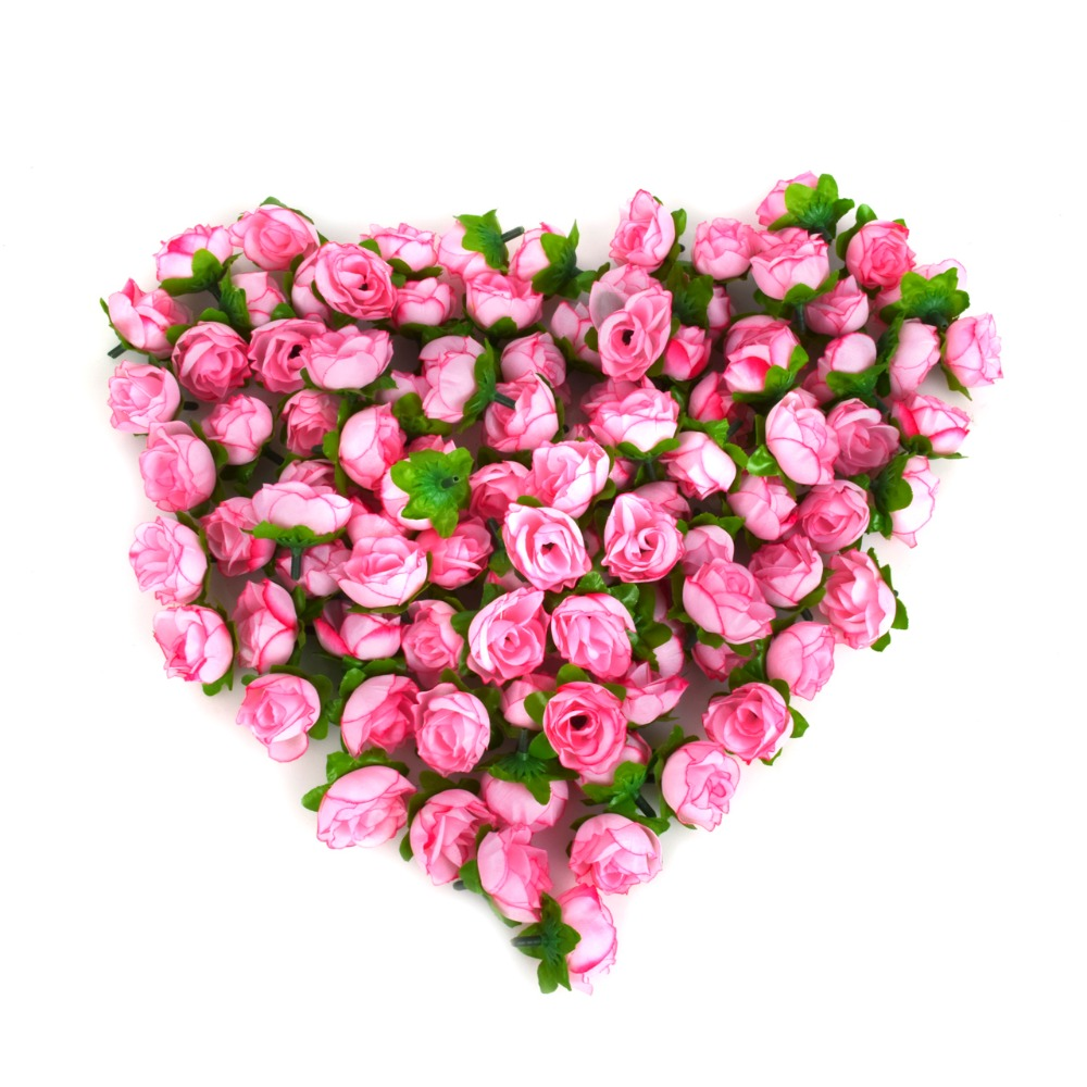 100pcs a set rose artificial silk flower heads wedding for Decorative flowers for crafts
