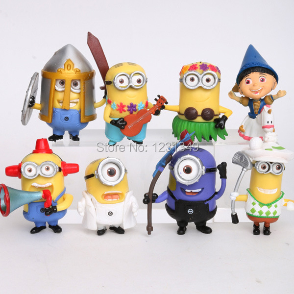 2015 New Despicable Me Minion Toys PVC Action Figures with 3D Eyes Minion 8pcs/set(China (Mainland))