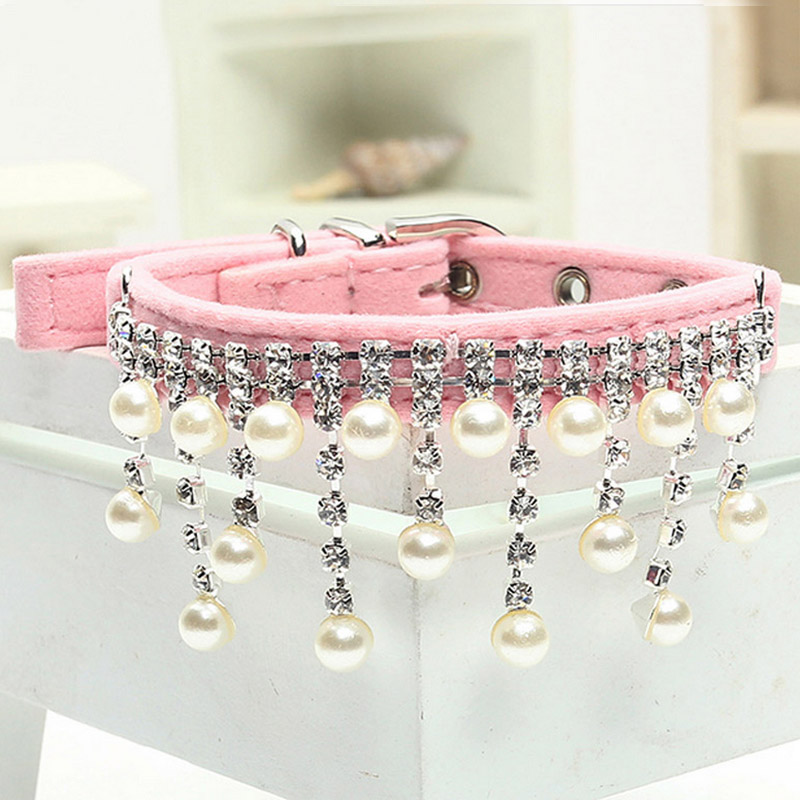 2016 Fashion Diamond Flocking Necklace Pearl Pet Dog Cat Collars Dog Clothes Jewelry Accessories(China (Mainland))